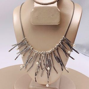 Or Paz Pearl & Silver Branch Statement Necklace